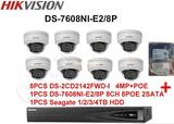 Hikvision H.264 CCTV System 8PCS IP Dome Camera POE + 6MP 8CH 2-SATA 8-POE NVR Complete KIT