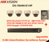 Hikvision H.264 CCTV System 4 PCS IP Dome Camera POE + 6MP 4 CH 2-SATA 4-POE NVR Complete KIT